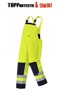 Salopeta de lucru rezistenta galben fluorescent cu buzunare multiple