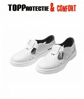 Sandale albe fara protectie O1 SRC din piele cu gauri pentru aerisire