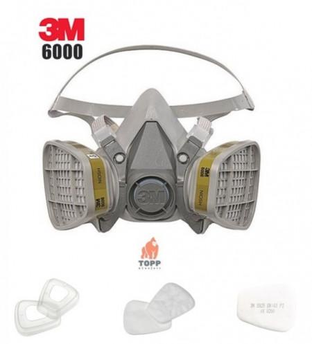 Semimasca 3M6200 protectie respiratorie cu 2 filtre 6057 + 5925 + 501 incluse Pachet