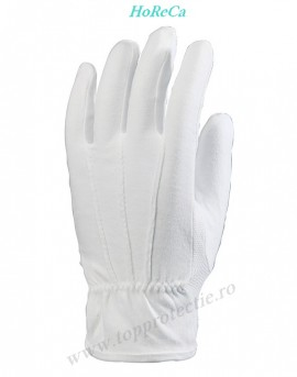 Manusi de protectie albe din bumbac cu picouri Elegante Horeca