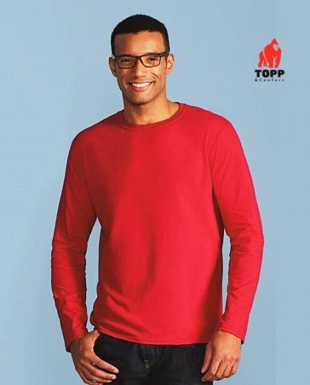 Tricou - bluza cu maneci lungi Gildan rosu