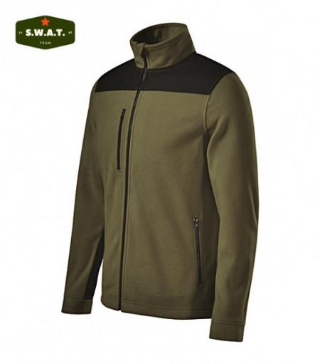Jacheta fleece verde cu intarituri