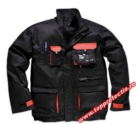 Jacheta lucru bleumarin tercot rezistent Design-TX Negru cu rosu mecanic