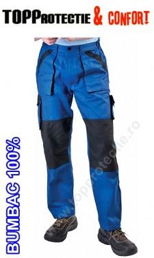 Pantaloni de lucru bumbac talie BiColor albastru