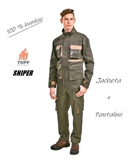 Costum lucru jacheta + pantaloni verde vanator 100% bumbac