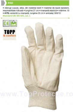 Manusi de protectie albe cusute 4155 M-10