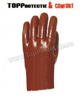Manusi de protectie bumbac imersate in PVC bordo,rezistente la acizi