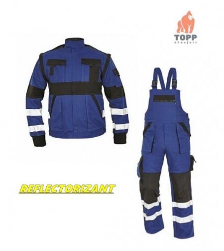 Costum salopeta de lucru MAX REFLEX dungi reflectorizante