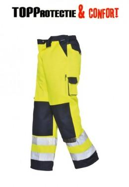Pantaloni de lucru galben fluorescent dungi reflectorizante
