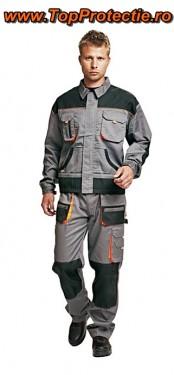 Pantaloni de salopeta gri-portocaliu Racer cu intarituri la genunchi