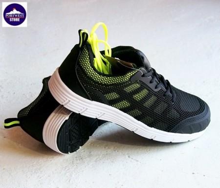 Pantofi de protectie tip adidasi cu bombeu albastru cu negru