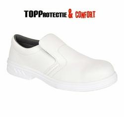 Pantofi protectie albi fara siret bombeu metalic alimentar medical