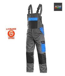 Pantalon cu pieptar de lucru usori Gri/albastru