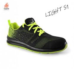 Pantofi comozi cu bombeu usori S1 negru galben fluo