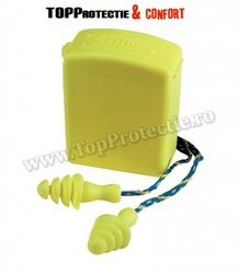 Antifoane interne cu șnur, galbene, spălabile, reutilizabile, din material elastomer flexibil