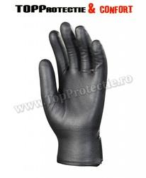 Manusi protectie din nylon poliamidă neagra imersata integral în nitril elastic