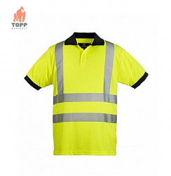 Tricou polo poliester, galben sau portocaliu fluo