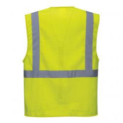 Vesta galben fluorescent de vara cu benzi reflectorizante