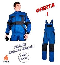 Costum salopeta cu pieptar + jacheta de lucru din bumbac 100