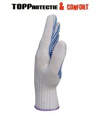 Manusi tricotate din noua fire,cu picouri albastre,plate
