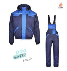 Salopeta de iarna vatuita costum albastru