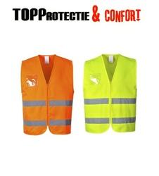 Vesta reflectorizanta usoara cu fermoar , suport dublu pentru acte, galben sau portocaliu fluorescent