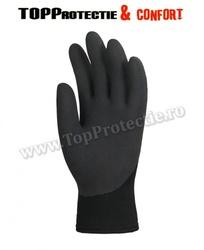 Manusi protectie,rezistente la abraziune,imersate in latex negru,antiderapante