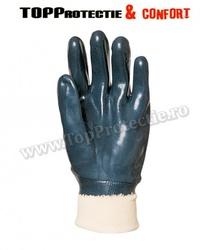 Manusi de protectie,bumbac imersat dublu până la încheietura mâinii în nitril albastru