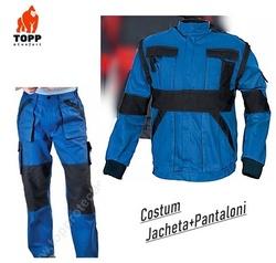 Costum salopeta jacheta + pantalon bicolor albastru din bumbac