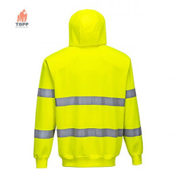 Hanorac galben fluorescent cu gluga si dungi reflectorizante