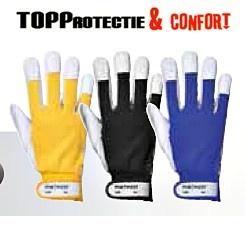 Manusi de protectie, rezistente, albastru, rosu, galben, negru