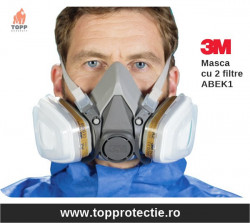 Masca protectie 3M 6200 cu 2 filtre gaze vapori + amoniac