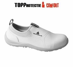 Pantofi albi microfibra MIAMI S2 SRC bombeu