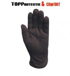 Manusi textile 100% bumbac negru,cu picouri PVC