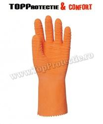 Manusi protectie din bumbac imersat în latex crep portocaliu, rezistent la acide