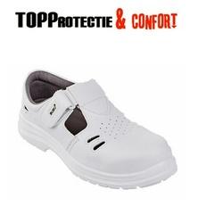 Sandale de protectie S1 cu scai, albe, respirante- medical, spital