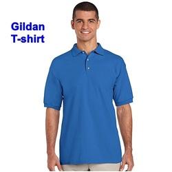 Tricou polo Gildan cu guler albastru regal