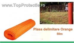 Plasa de gard din plastic portocaliu model nou 50m X 1,8m imprejmuire, delimitare lucrari in constructii