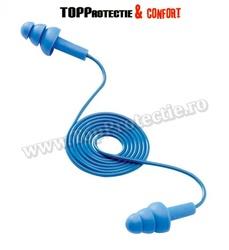 Antifoane interne cu biluta de otel incorporata,albastra,reutilizabila,cu snur mobil,3M E.A.R TRACERS