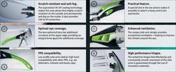 Ochelari protectie lucru sport rezistent UV 400 Made in Germany negru/verde Pheos