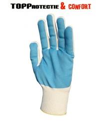 Manusi textile cu strat PVC albastru pe palma impotriva umezelii