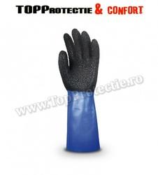 Manusi protectie nylon netede imersate in PVC negru/albastru