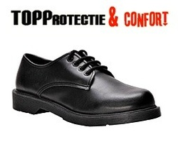 Pantofi ospatari horeca SB cu pernite de aer,din piele cu bombeu metalic