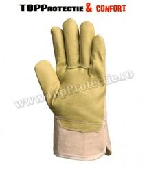 Manusi de protectie din piele sintetica galbena,rezistenta la rupere