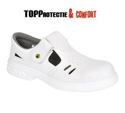 Sandale de protectie S1 albe, respirabile, industria alimentara, medicala