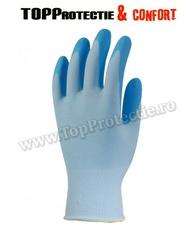 Manusi de protectie palma imersata in nitril albastru,antiderapante