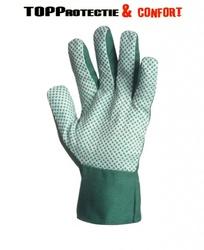 Mănuși grădinar din material textil verde,cu picouri PVC