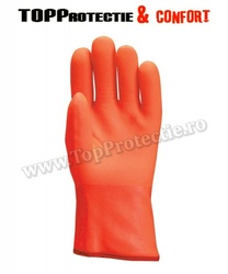 Manusi protectie din bumbac integral dublu-imersat în PVC portocaliu fluo