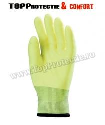 Mănuși de bază din poliester rezistente la abraziune, galben fluo, pentru solicitare intensă