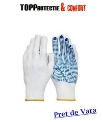 Manusi de protectie cu picouri PVC in palma, rezistente la uzura